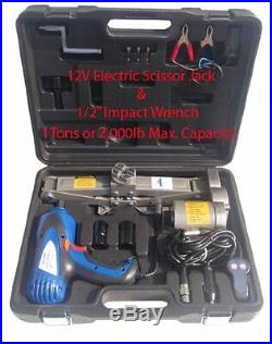 1 Ton Electric Scissor Car Jack 1/2 Impact Wrench 12V