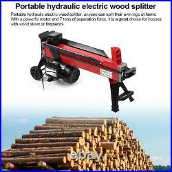 110V Electric Hydraulic Wood Cutter Log Splitter 7 Tons Splitting Force 2200W
