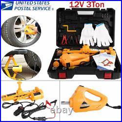 12V 3Ton Heavy Duty Electric Scissor Car Lift Impact Wrench DC Automotive