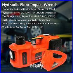 12V 5 Ton Car Jack Electric Hydraulic Floor Jack &Impact Wrench Tire Repair Tool