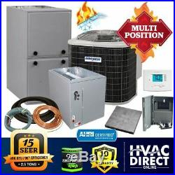2.5 Ton AirQuest-Heil by Carrier 15 SEER 96% 80k BTU Gas Furnace/AC System withKit