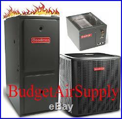 2.5 Ton Goodman 14 seer 96% 60K BTU Gas Furnace UPFLOW GMSS960603BN+25ft LineSet