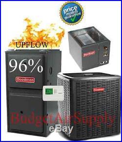 2.5 Ton Goodman 14 seer 96% 80K BTU Gas Furnace UPFLOW GMSS960804CN+50ft LineSet