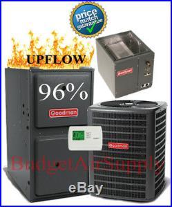2 Ton Goodman 13 seer 95/96% 80K BTU Gas Furnace UPFLOW System GMSS960804CN