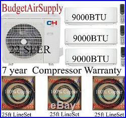 2 ton+ 22 Seer 28000 Btu Cooper&Hunter 3 Zone Mini Split Ductless 9K+9k+9K MULTI