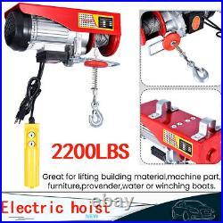 2200LB Electric Wire Hoist Winch Hoist Crane Lift 40 ft With Remote Control 1 Ton