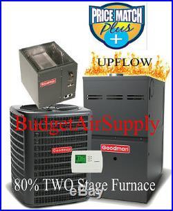 3.5 (3 1/2) Ton Goodman 14 seer 80% 100K BTU 2 stage UPFLOW Gas Furnace+Tstat
