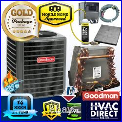 3.5 Ton 14 SEER Goodman Mobile Home AC Heat Pump + Coil System, Line Flush Kit