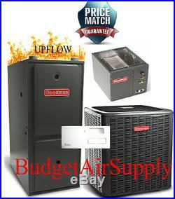 3.5 Ton Goodman 13 seer 95/96% 80K BTU Gas Furnace UPFLOW System GMSS960804CN