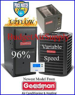 3.5 Ton Goodman 16 seer 95/96% 100K Gas Furnace GSX16042+GMVC961005CN+CASED COIL
