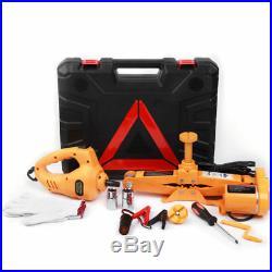 3 Ton 12V DC Automotive Electric Scissor Car Jack Lift 1/2 Impact Wrench with Box