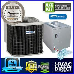 3 Ton 14 SEER AirQuest-Heil by Carrier Air Conditioner, 17.5 Wide Coil