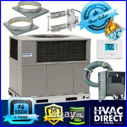 3 Ton 14 SEER AirQuest-Heil by Carrier Package AC Heat Pump Unit Install Kit