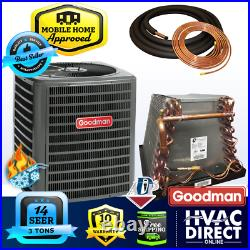 3 Ton 14 SEER Goodman Mobile Home AC Heat Pump + ADP Coil + 30' Copper Line Set