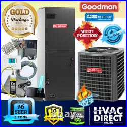 3 Ton 16 SEER Goodman Heat Pump A/C System Replacement Flush Install Kit