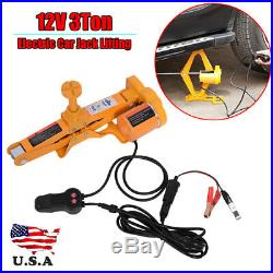 3 Ton Automotive Electric Scissor Car Jack Lift 12V DC Wrench 1/2 Impact