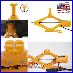 3 Ton Automotive Electric Scissor Car Lift 12V DC Wrench with 1/2 Impact
