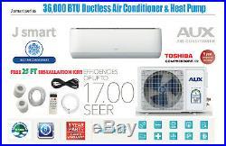 36000 BTU Ductless Air Conditioner, Heat Pump Mini Split 230V 3Ton 25ft