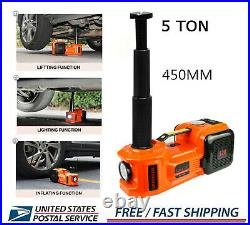 3in1 Electric Hydraulic 5Ton Car Floor Lift Jack Tire Inflator Pump Tool 12V DC