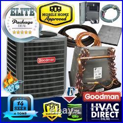4 Ton 14 SEER Goodman Mobile AC Home Heat Pump + Coil System, Full Install Kit