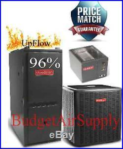 4 Ton Goodman 14 seer 96% 80K BTU Gas Furnace UPFLOW GMSS960804CN+25ft LineSet