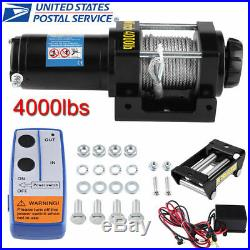 4000 Lb Electric Winch 12V ATV Towing Truck Trailer Boat Pound 2 Ton New