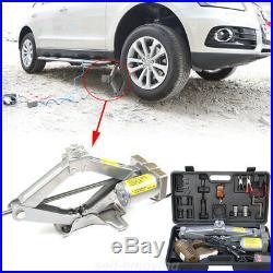 5 Ton 12V Electric Scissor Car Jack Lift Automatic Garage Vehicle Tire Repair US