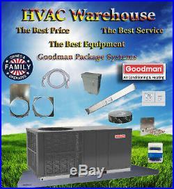 5 Ton 14 seer Goodman Heat Pump Package Unit GPH1460H41 Tstat+Equip Pad+Whip