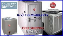 5 Ton R410A 100K BTU CompleteRheem System Condenser & Evaporator Coil & Furnace