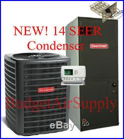 5 ton 14 SEER 410a Goodman A/C System GSX140601+ASPT61D14+25ft LineSet+HeatStrip