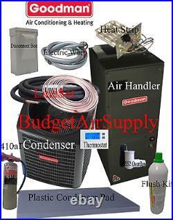 5 ton 14 SEER Goodman Heat Pump GSZ14060+ASPT61D+tx+FLUSH+410a+25ft INSTALL Kit