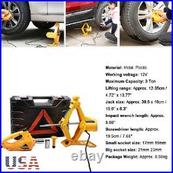 Automotive Electric Scissor Car Jack Lift 12V DC 3 Ton Wrench with 1/2 Impact