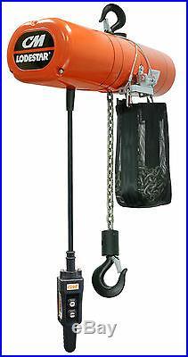CM Lodestar 4233NH Electric Chain Hoist Model R 2 Ton 20 ft 115v