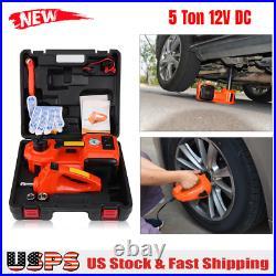 Car 12V DC 5 Ton Electric Hydraulic Floor Lift Impact Wrench Garage US