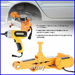 Car Electric Jack Hydraulic 12V 3 Ton Lift Jack Inflator Pump Impact Wrench