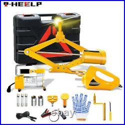 Car Jack Lift 12V 3 Ton Electric Scissor Floor Jack Impact Wrench Tire Tool Kit