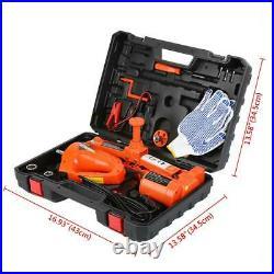 Car Jack Lift 12V 3Ton Electric Hydraulic Floor Jack Impact Wrench Tire Tool Kit