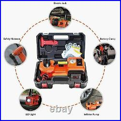 Car Jack Lift 12V DC 5 Ton Electric Hydraulic Floor Jack Tire Inflator Pump Tool