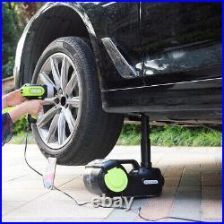 Car Jack Lift 5 Ton 12V DC Electric Hydraulic Floor Jack Tire Inflator Pump Kit