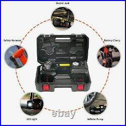 Car Jack Lift 5Ton 12V Electric Hydraulic Floor Jack Tire Inflator Pump Tool Kit