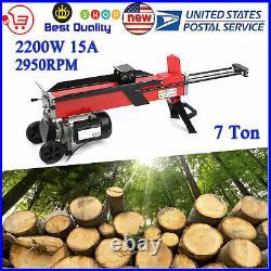 Electric Hydraulic Log Splitter Portable Wood Cutter 7 Ton Splitting 2200W 15A