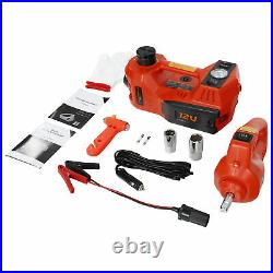 Electric Tire Tool Kit 12V 5Ton Car Jack set with Tire Inflator Pump Impact Wrench