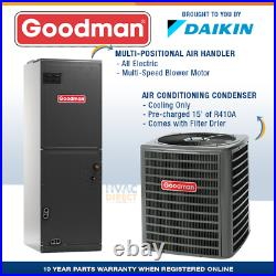 Goodman 1.5 Ton 14 SEER AC System withAux Electric Heat + Replacement Install Kit