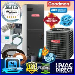 Goodman 3.5 Ton 14 SEER AC System withAux Electric Heat + Line Set Install Kit