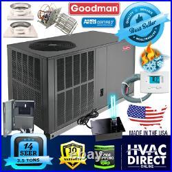 Goodman 3.5 Ton 14 SEER Packaged Heat Pump Unit Install Kit, Free Accessories