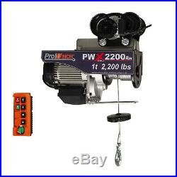 Prowinch 1 Ton Electric Wire Rope Hoist 2200 lbs. 38 ft. Wireless with Power Tr