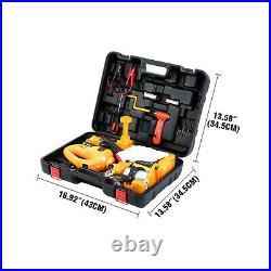 Ridgeyard 3 Ton Electric Car Floor Jack Set with Wrench & Tire Inflator Pump 12V