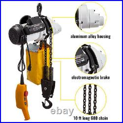 VEVOR 1 Ton Load 10 Ft Lift Round Chain Electric Hoist 2200LB 110V Crane Hoist