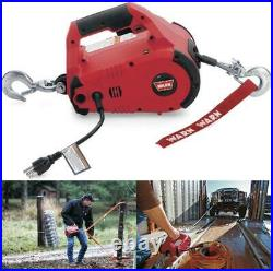 WARN 885000 PullzAll Corded 120V AC Portable Electric Winch 1/2-Ton, Steel Cable